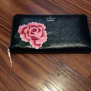 NWT Kate Spade black leather rose wallet